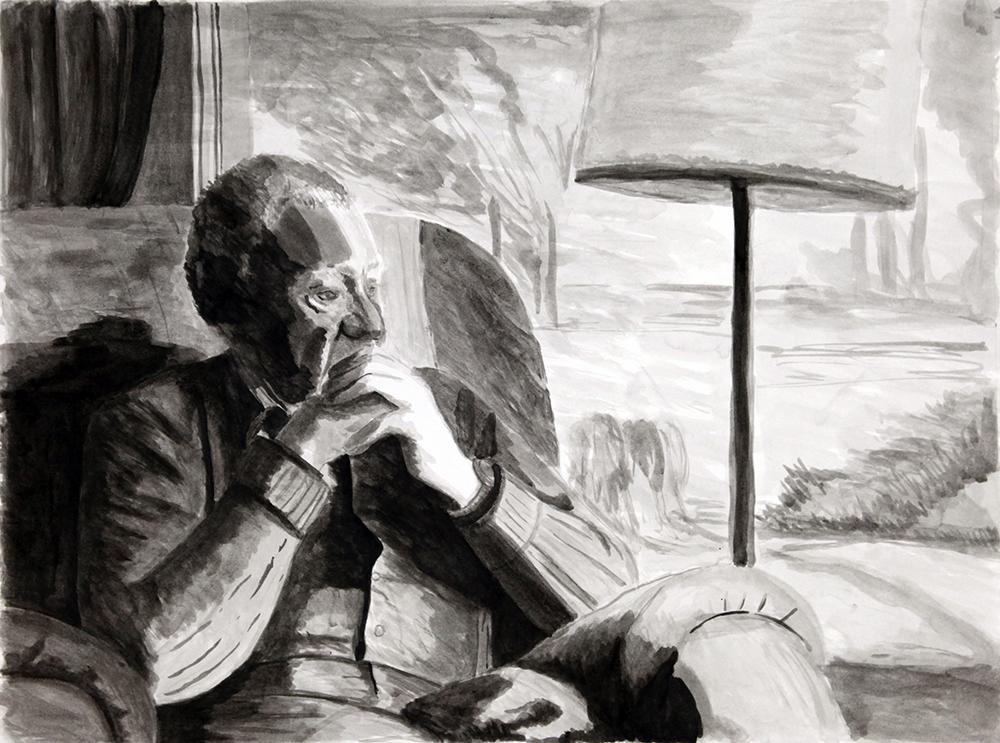 Ink drawing of an older man sitting in a chair.