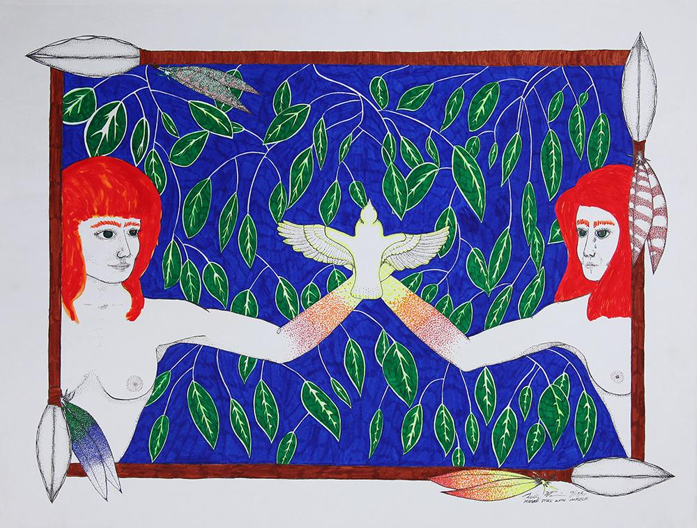 Two women against a leafy background and a dove.