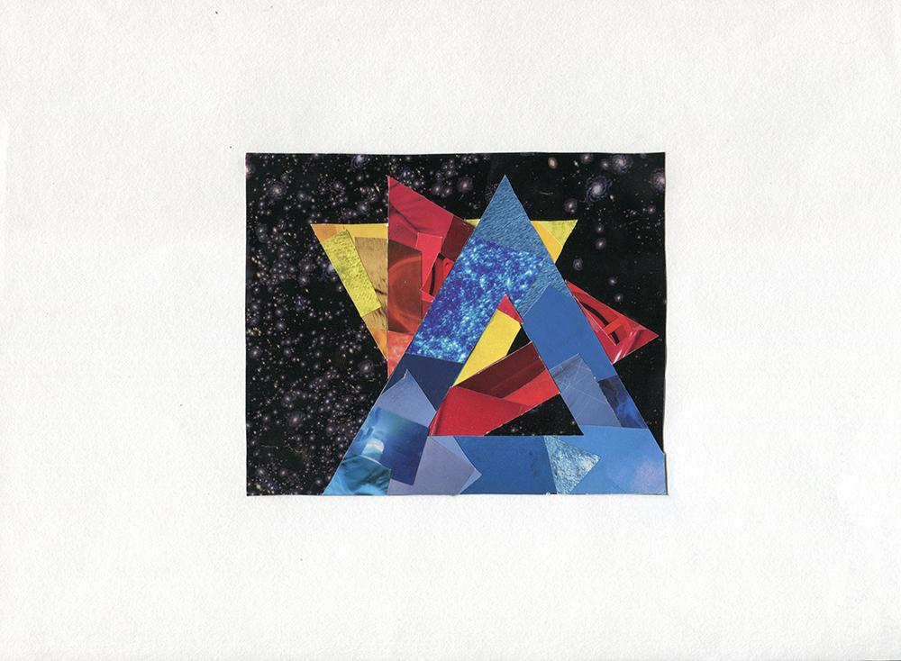 Three triangles in primary colors against a starscape