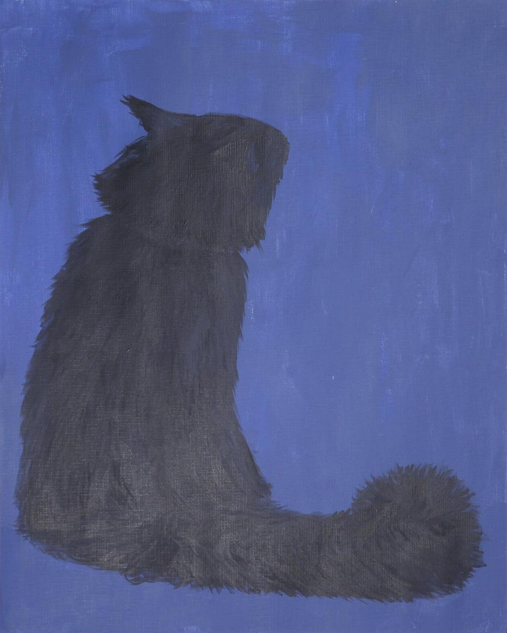 Painting of a black cat against a blue background.